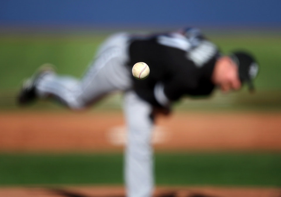 baseball pitcher, focus on the ball