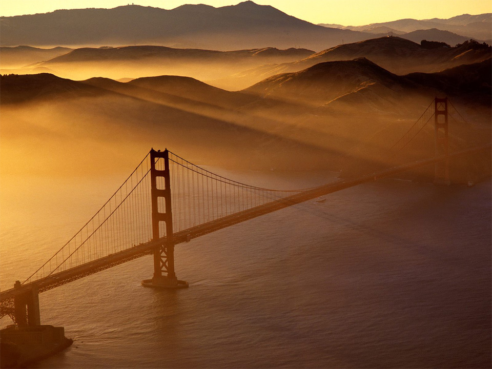 golden bridge at dusk
