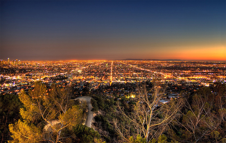 los angeles night grid