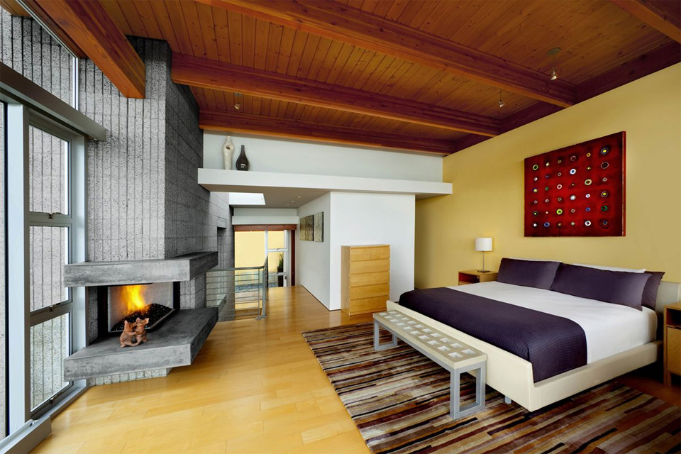 modern fireplace room