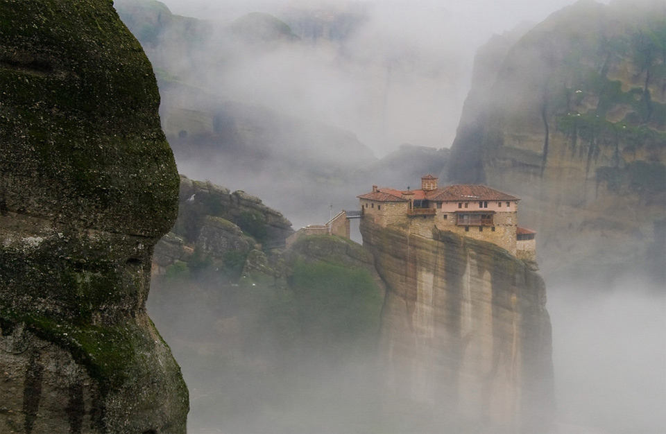 mountaintop house in the mist, kalabaka greece