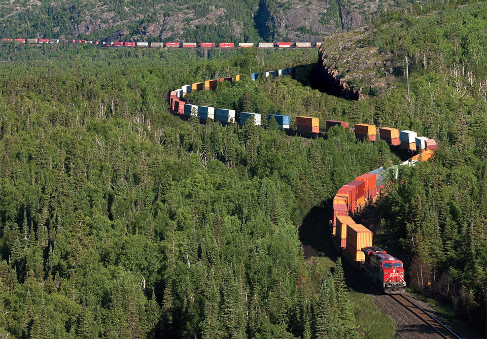 intermodal train in northern ontario, canada