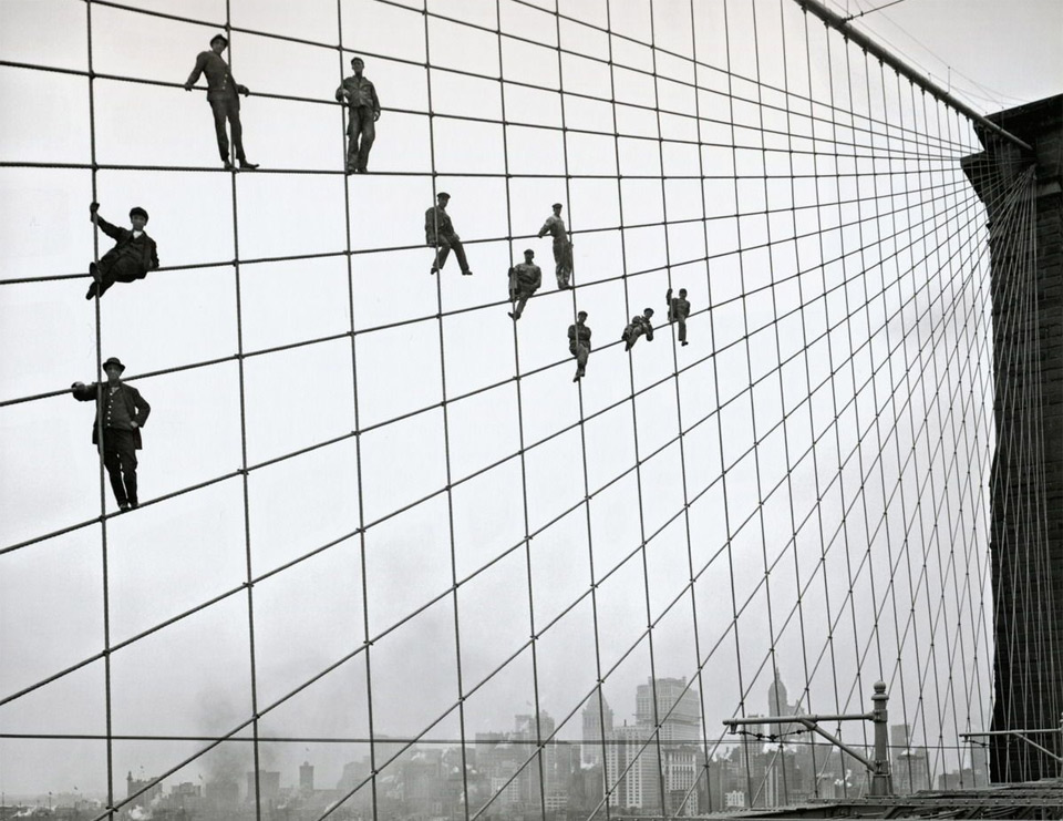 painters on the cables of the brooklyn bridge, 1914