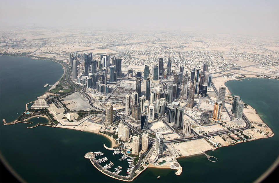 downtown doha from airplane