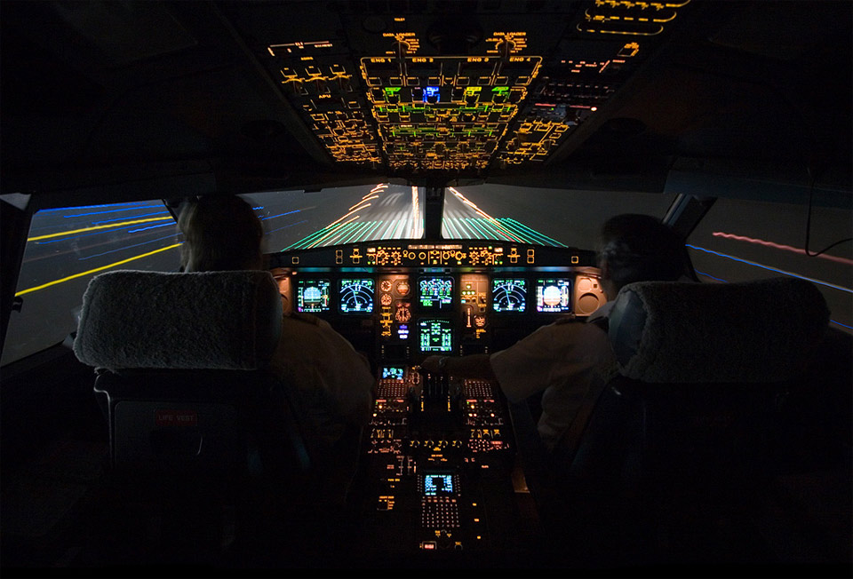 landing at night, cockpit view