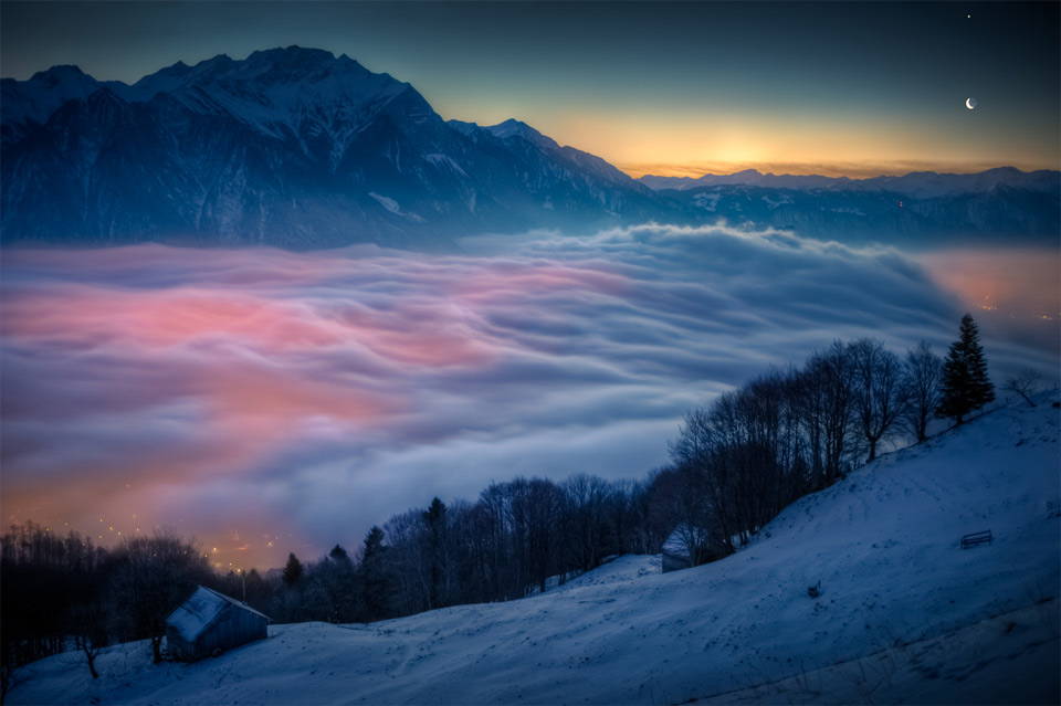 moon and venus over switzerland