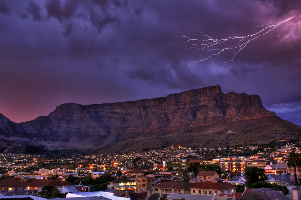 lightning over cape town, south africa