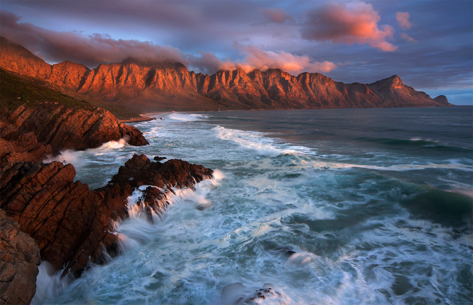 sunset at kogel bay, south africa
