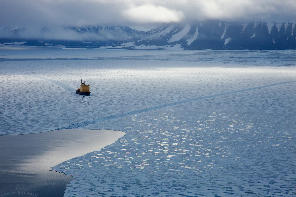 icebreaker in the ice of the arctic ocean