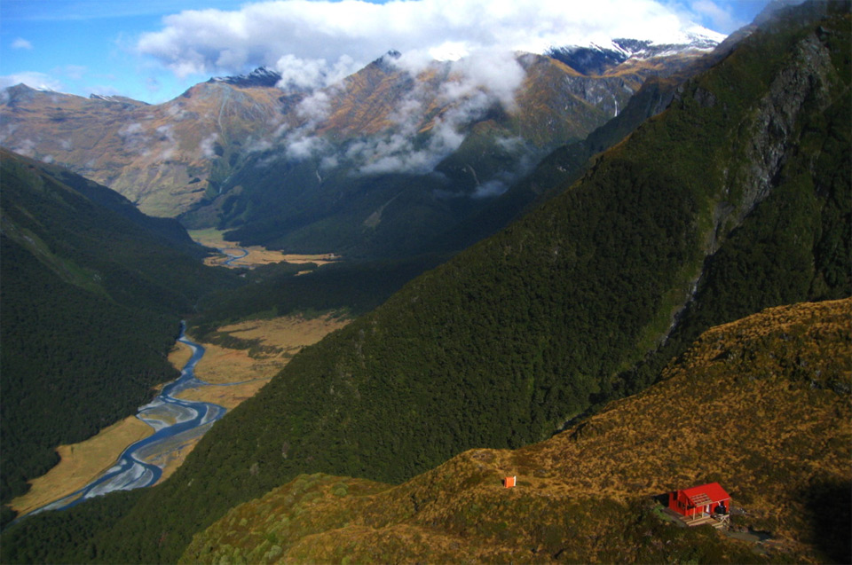 red hut, mt. aspiring, new zealand