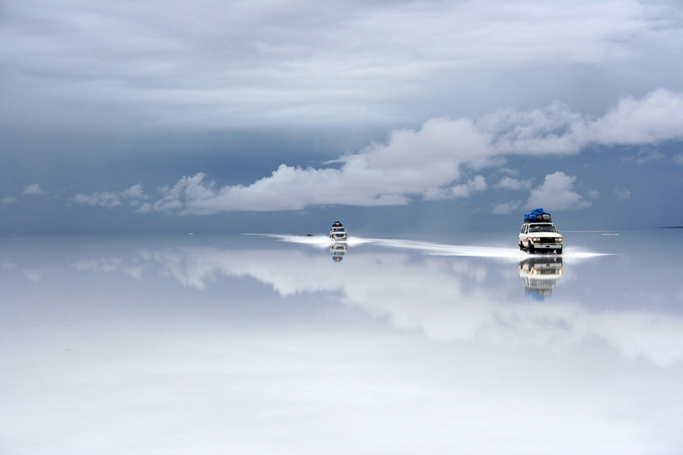 salt desert after the rain, bolivia