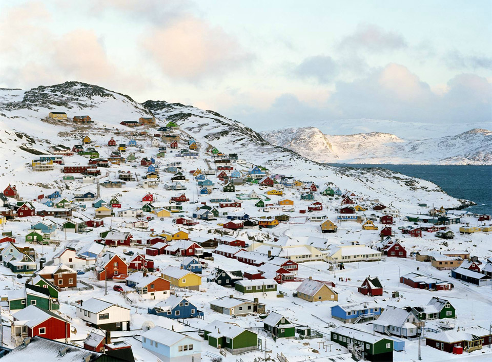 snowy town of qaqortoq, greenland