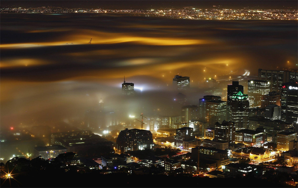 fog over cape town