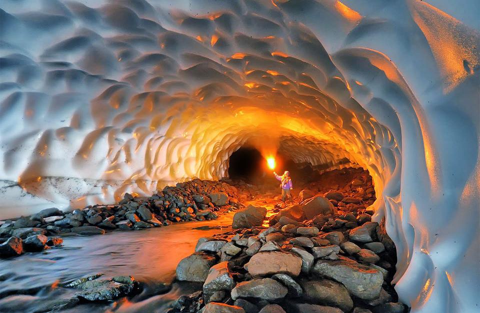 inside glacier cave in alaska