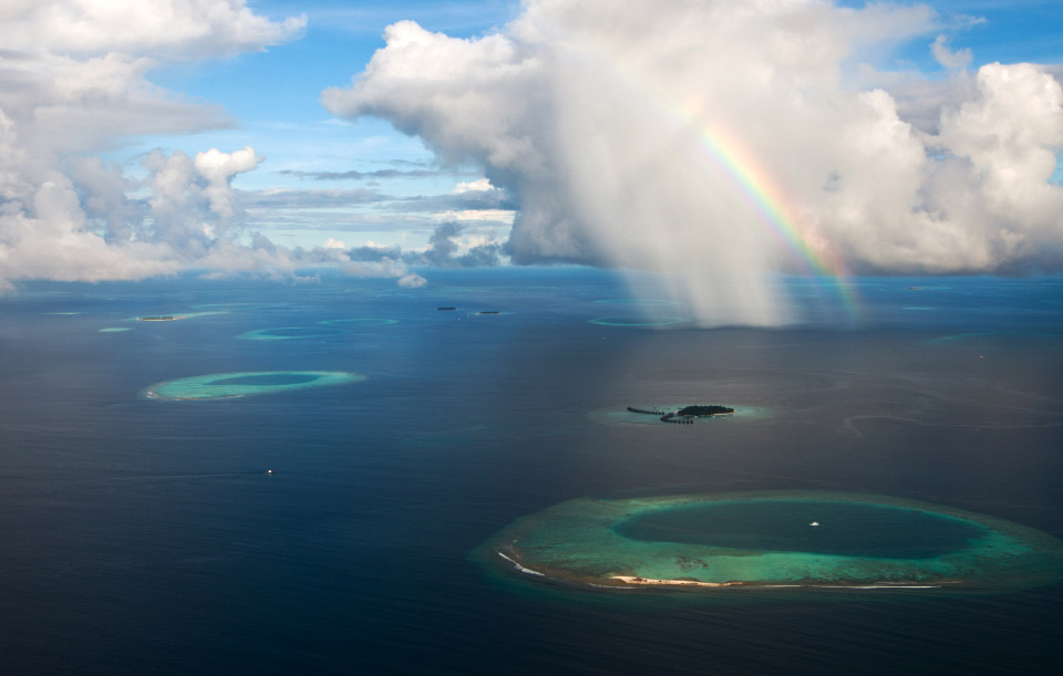 rainbow over maldives