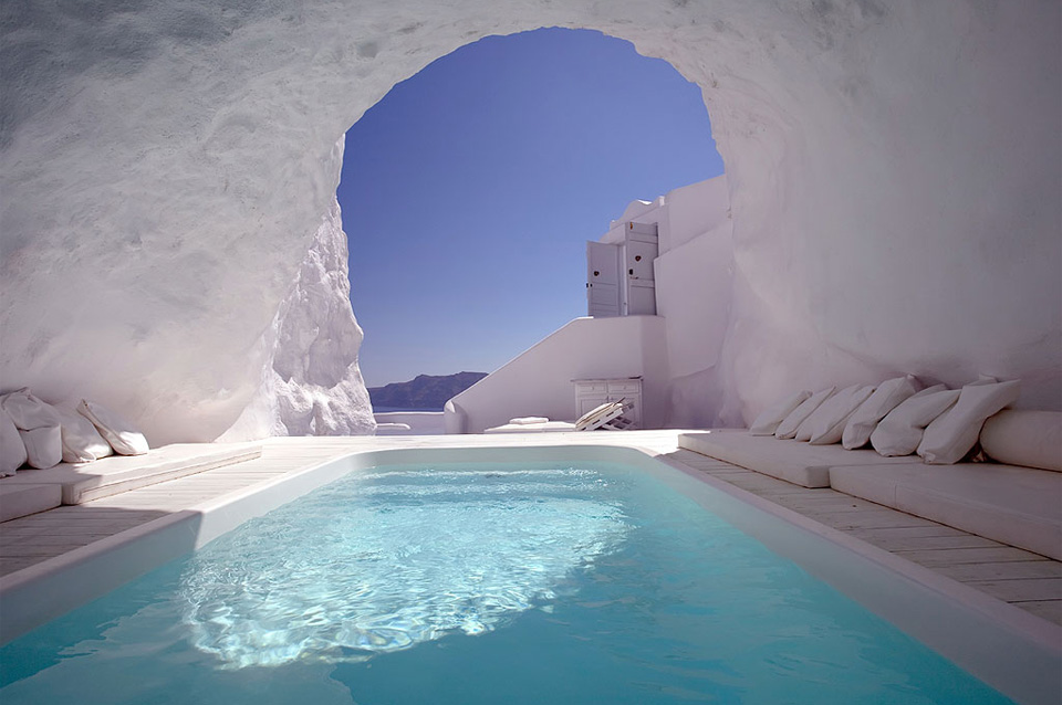 cave pool, santorini, greece