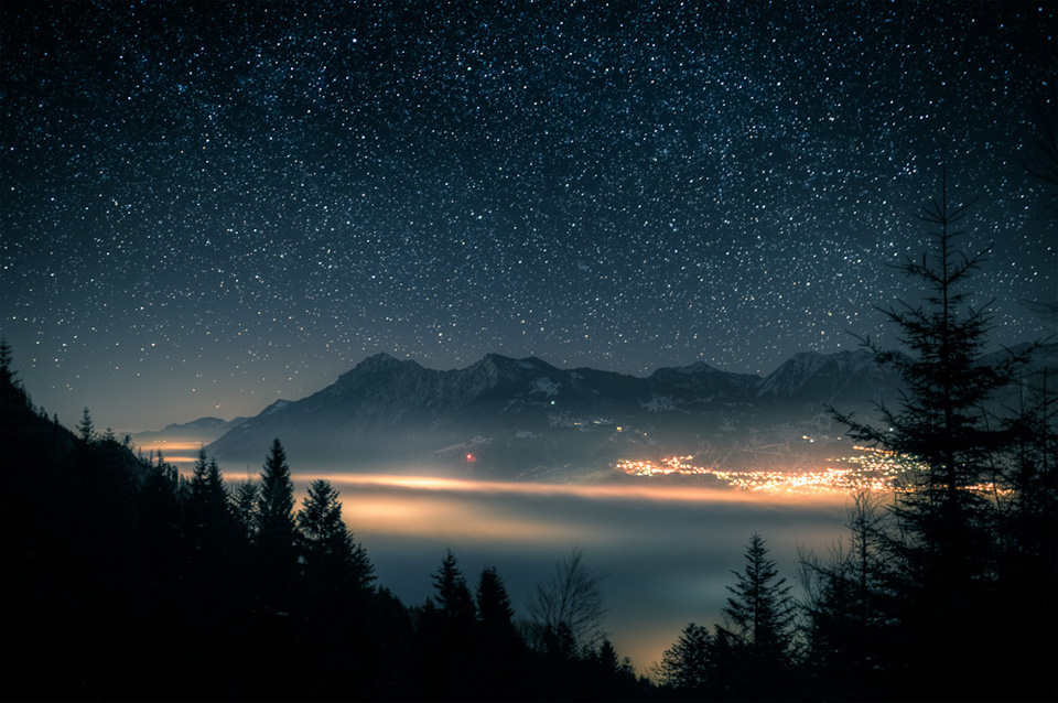 starry night over switzerland