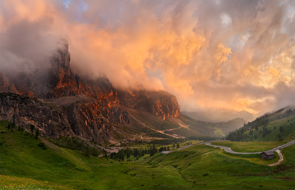 stormy sunset over alpes, italy