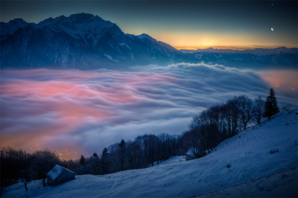 venus and moon over switzerland