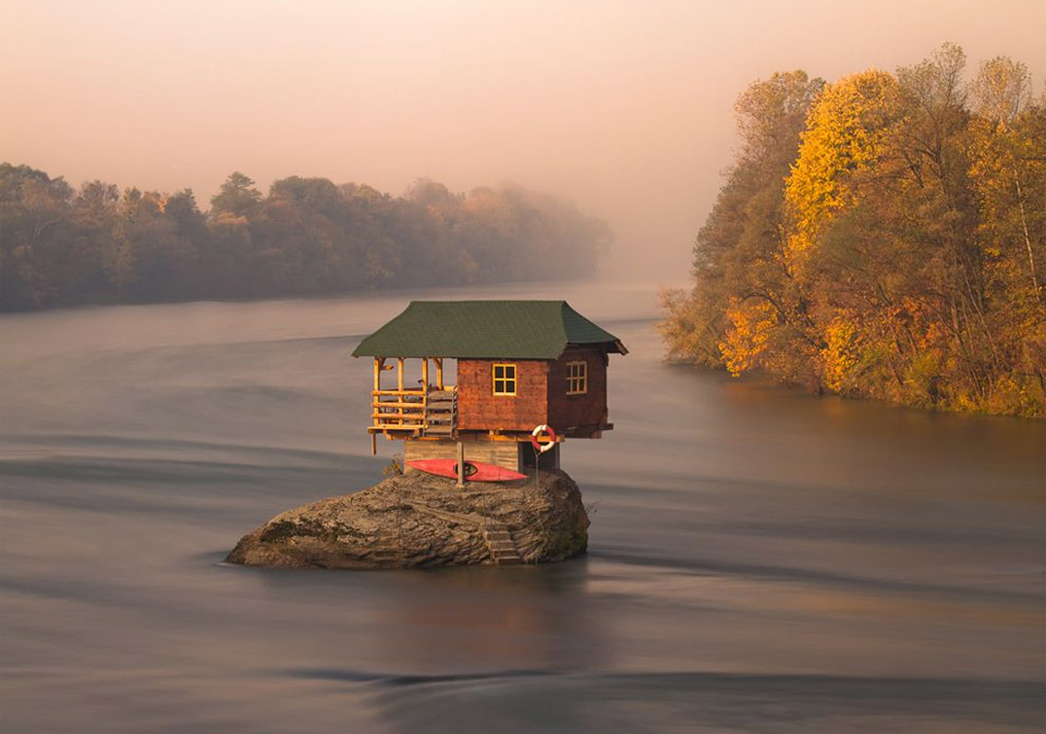 house in the middle of the river, serbia