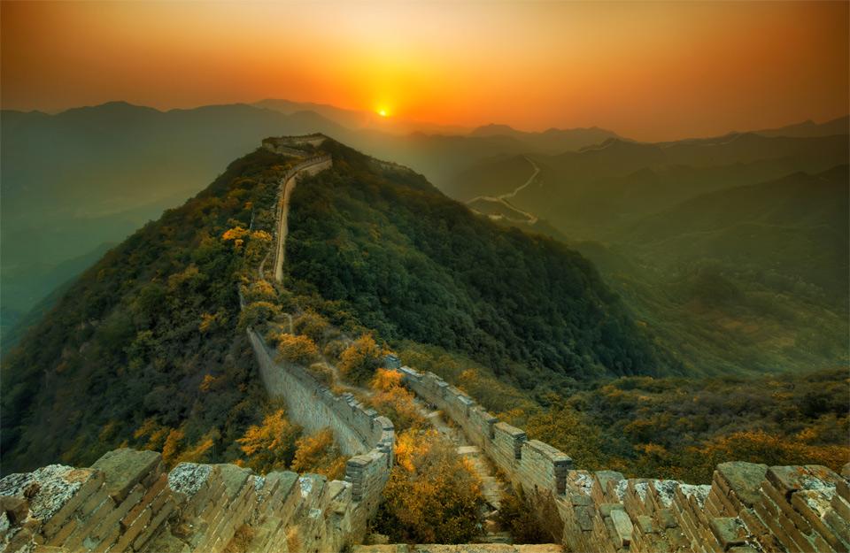 a great wall at sunset, china