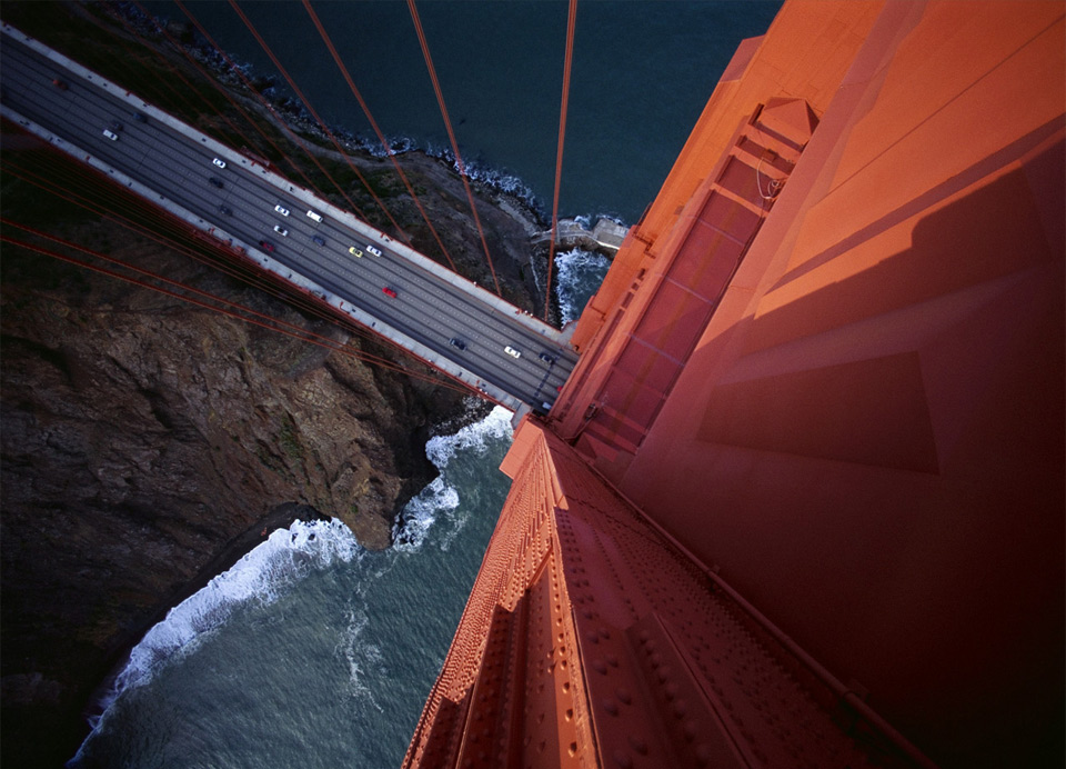 looking down from the golden gate bridge