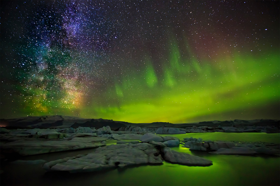 milky way and northern light together