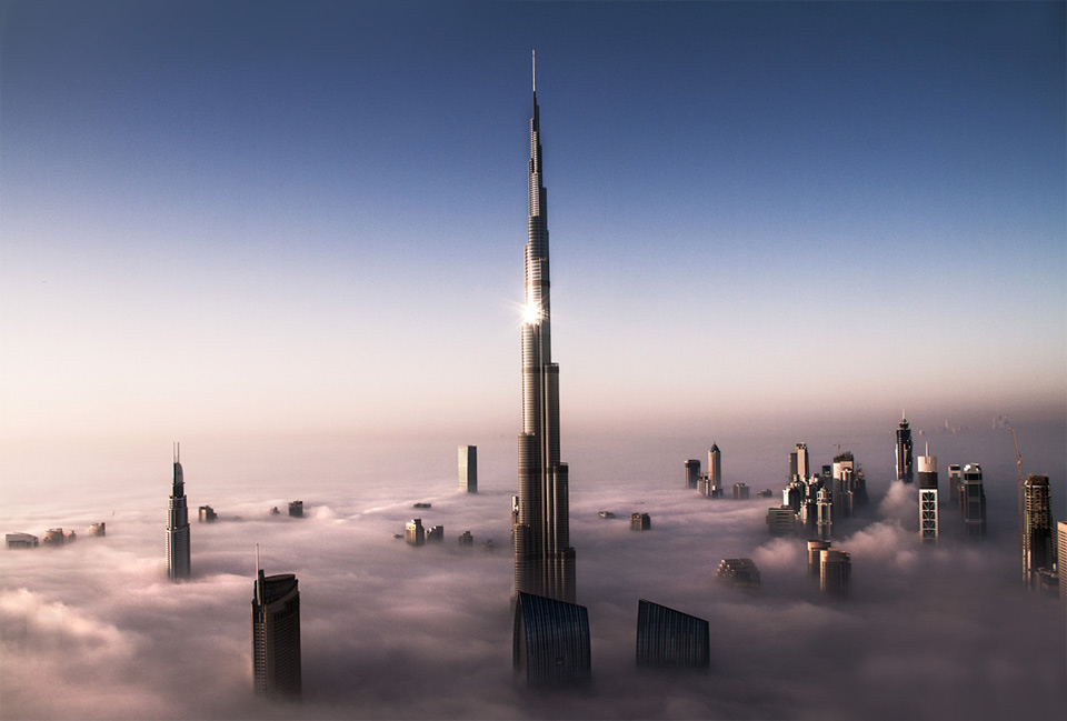 dubai cityscape above clouds