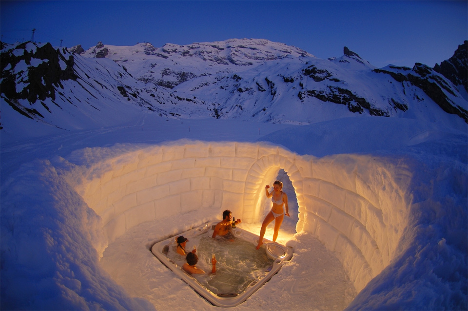 a hot tub inside igloo, switzerland