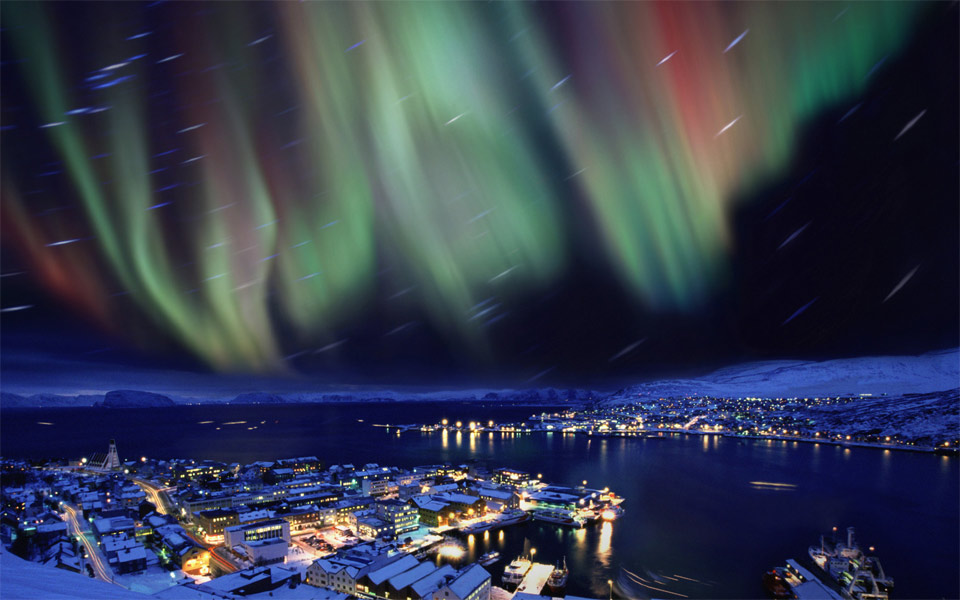 aurora borealis in the skies over hammerfest, norway