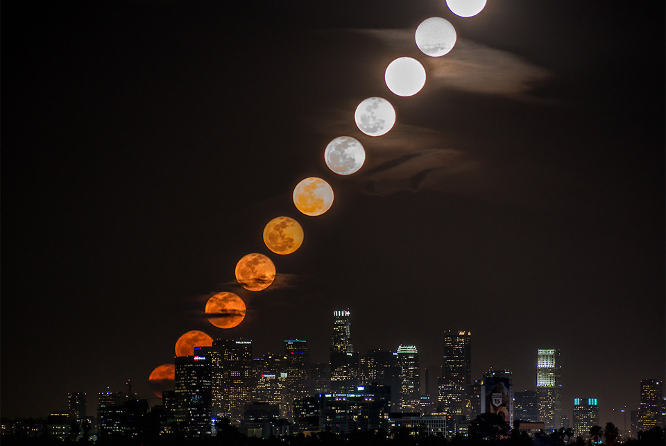 moon rise behind los angeles