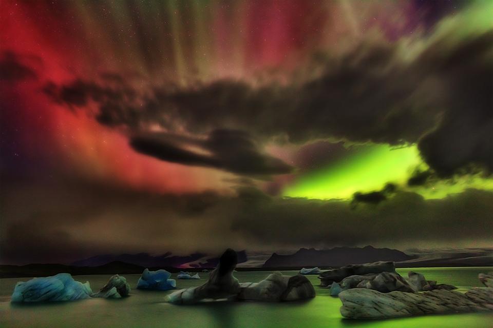 colorful aurora borealis over iceland