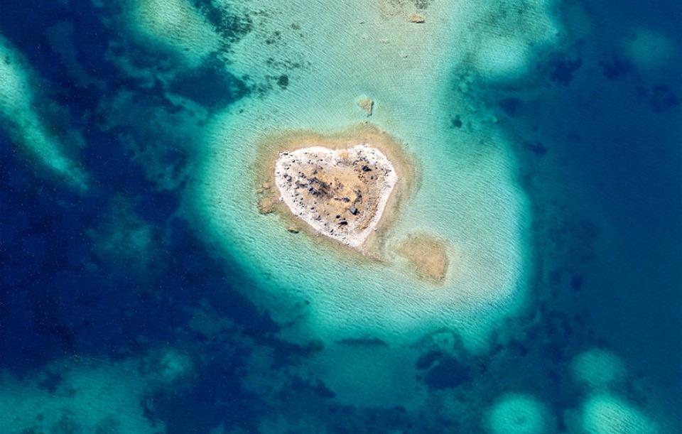 tiny heart shaped island