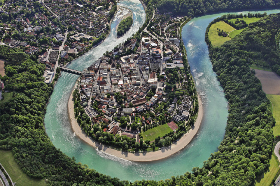 wasserburg am inn from above, germany