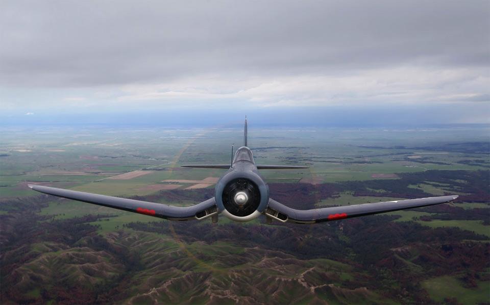 corsair airplane over nebraska