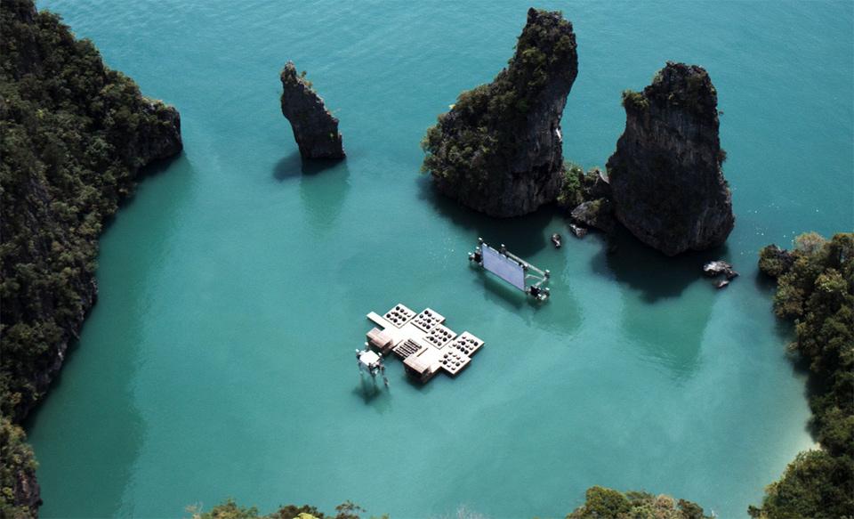 floating cinema in exotic thailand paradise