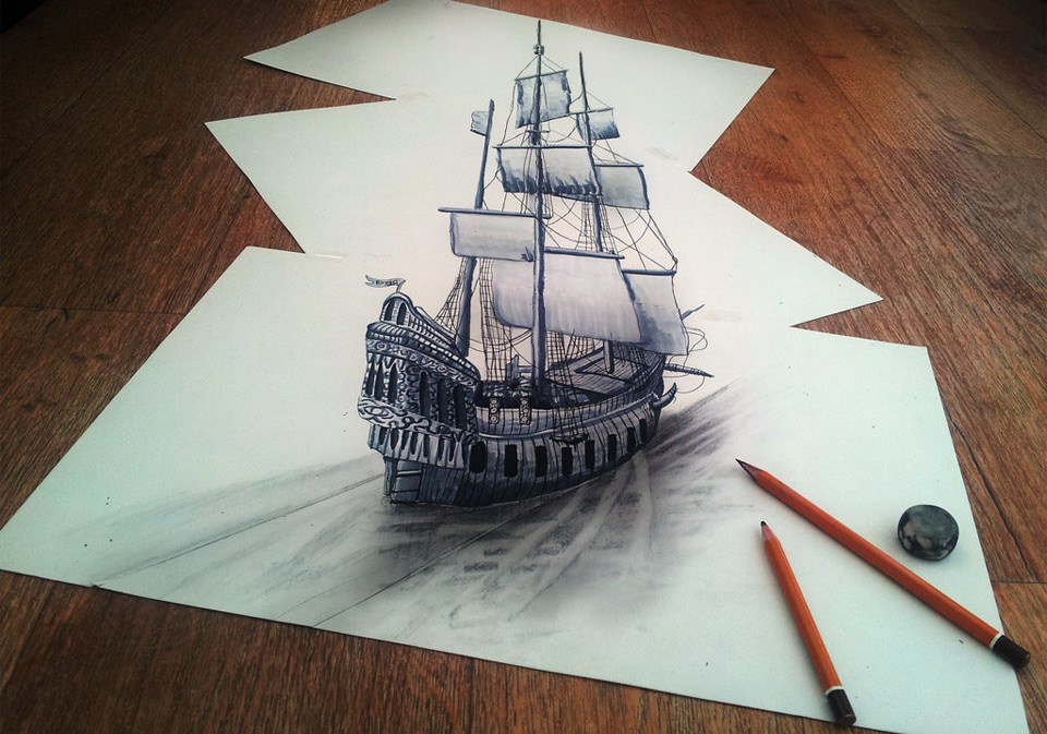 mind blowing 3D drawing on flat sheet of paper