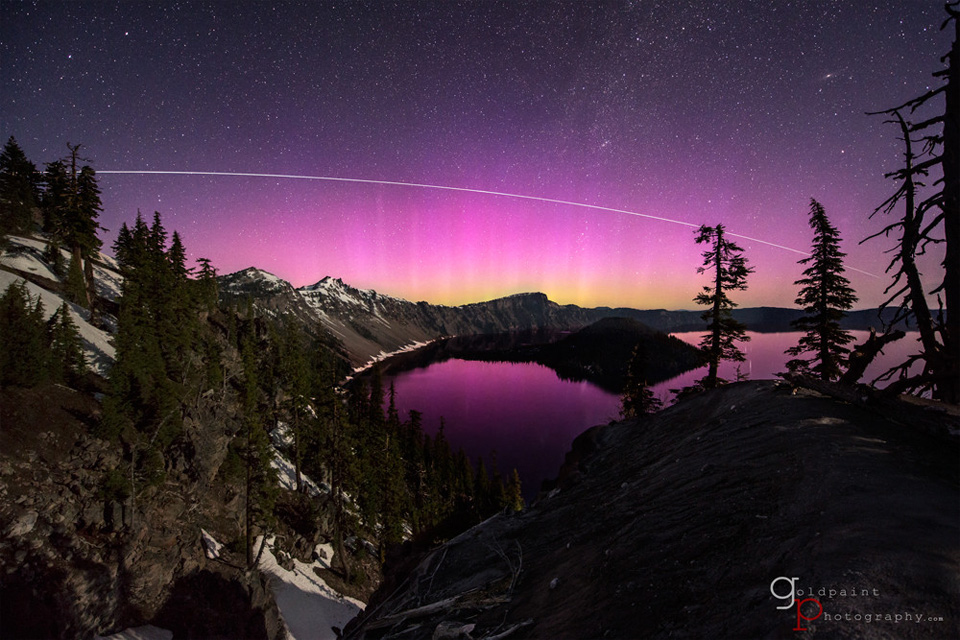pink aurora over crater lake, oregon photo | One Big Photo