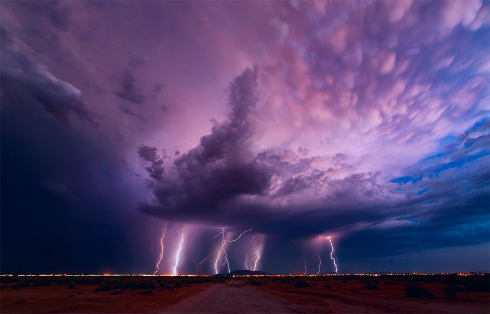 lighting out of purple sky