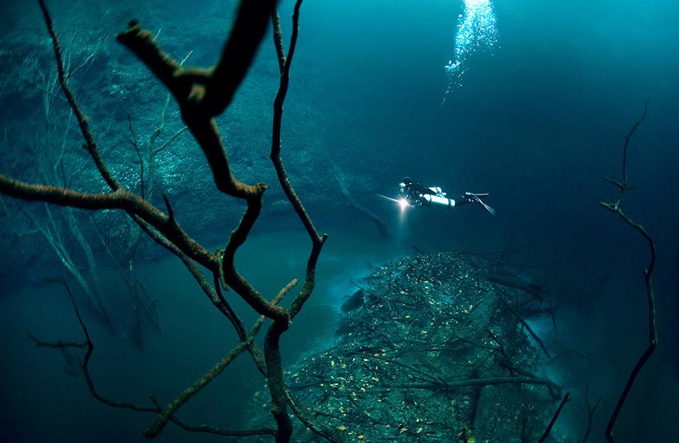 underwater river flows along mexico`s ocean floor