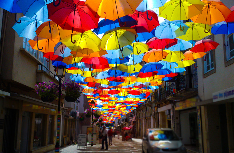 umbrella street in aveiro, portugal