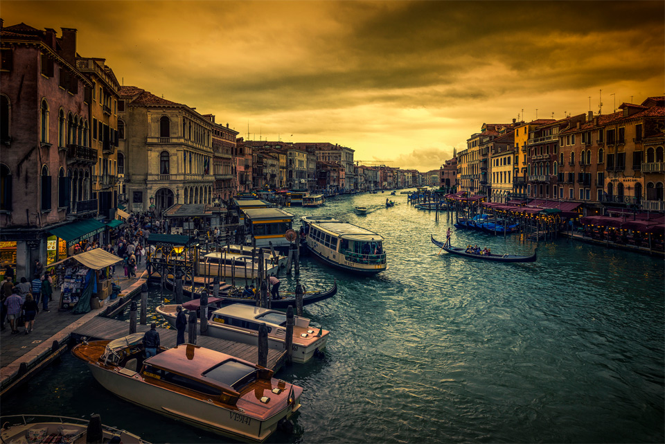 a sunset in venice