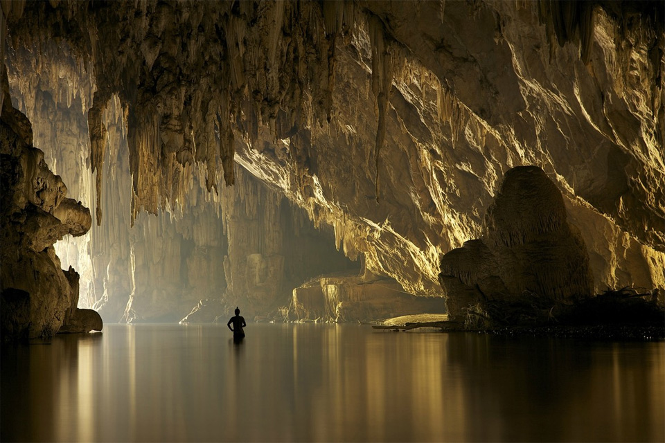 river in a cave, thailand