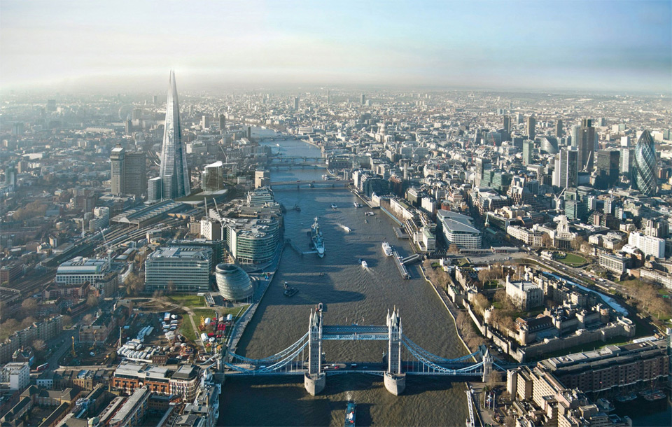 aerial view on london