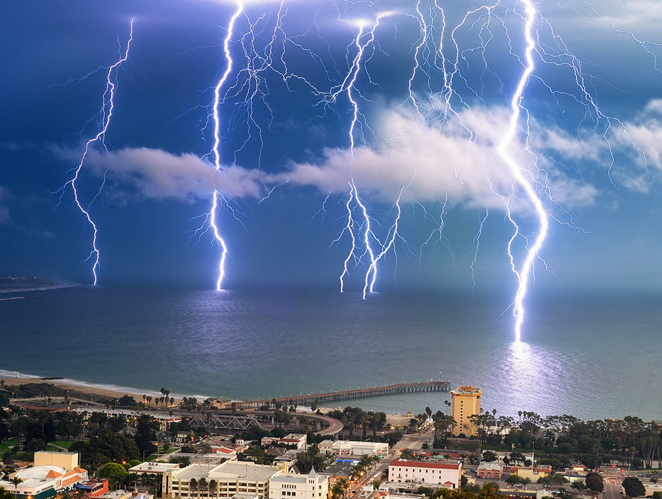 lightning storm, ventura, california