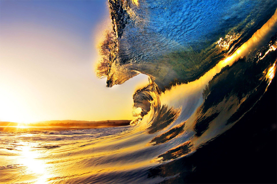 sun reflected in wave