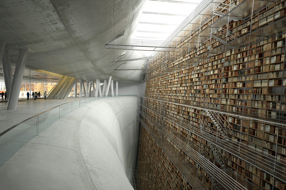 wall of knowledge, stockholm library