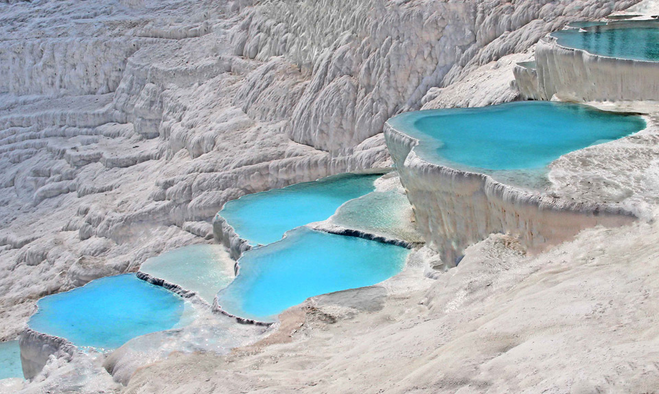natural turquoise pools of pamukkale, turkey