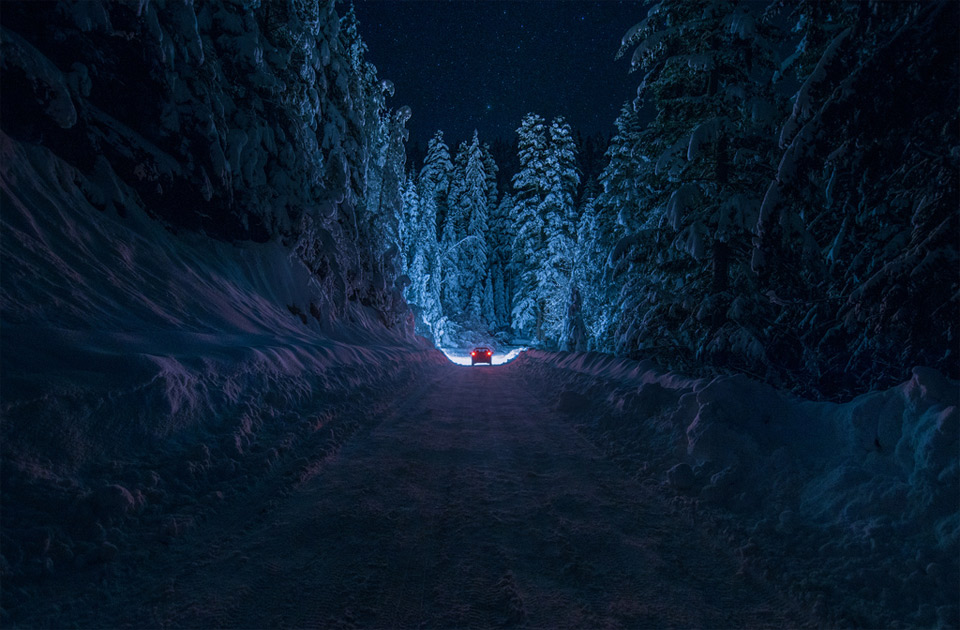 snowy road, rila mountain, bulgaria