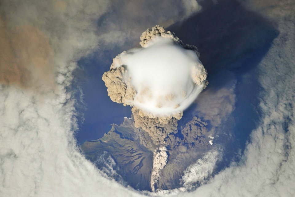 spectacular view of russia`s sarychev peak volcano erupting